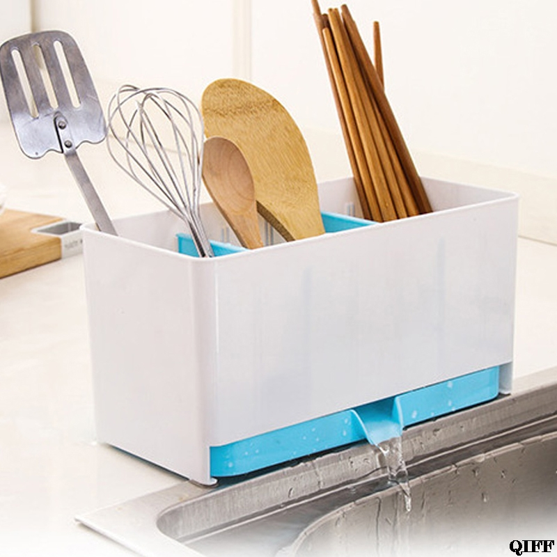 Utensils Holder Rack Candy Sponge Basket Wash Dry Shelf Cutlery Drainer Sink Tidy Organizer Kitchen Tools Storage Organizer