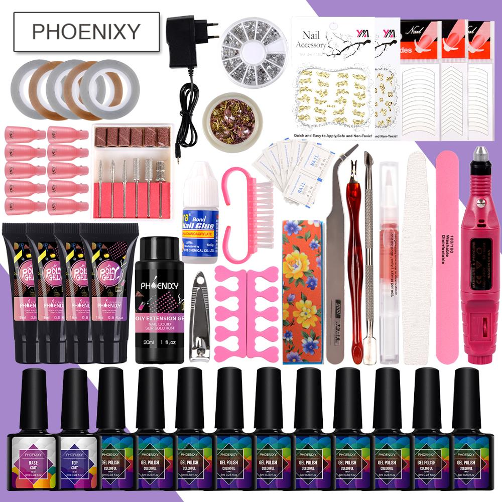 Nail Set Poly Gel Set With LED Lamp Nail Drill Machine Set Gel Nail Polish Set Nail Extension Kit Everything For Manicure Set