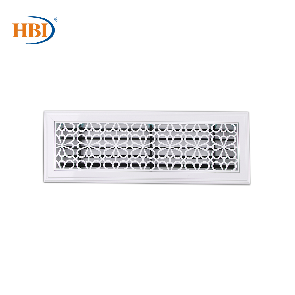 500mm X 150mm Pattern-Blossom Fortune White Rectangular Plastic Frame Steel Decorative Air Grille Vent Retro Style Outlet