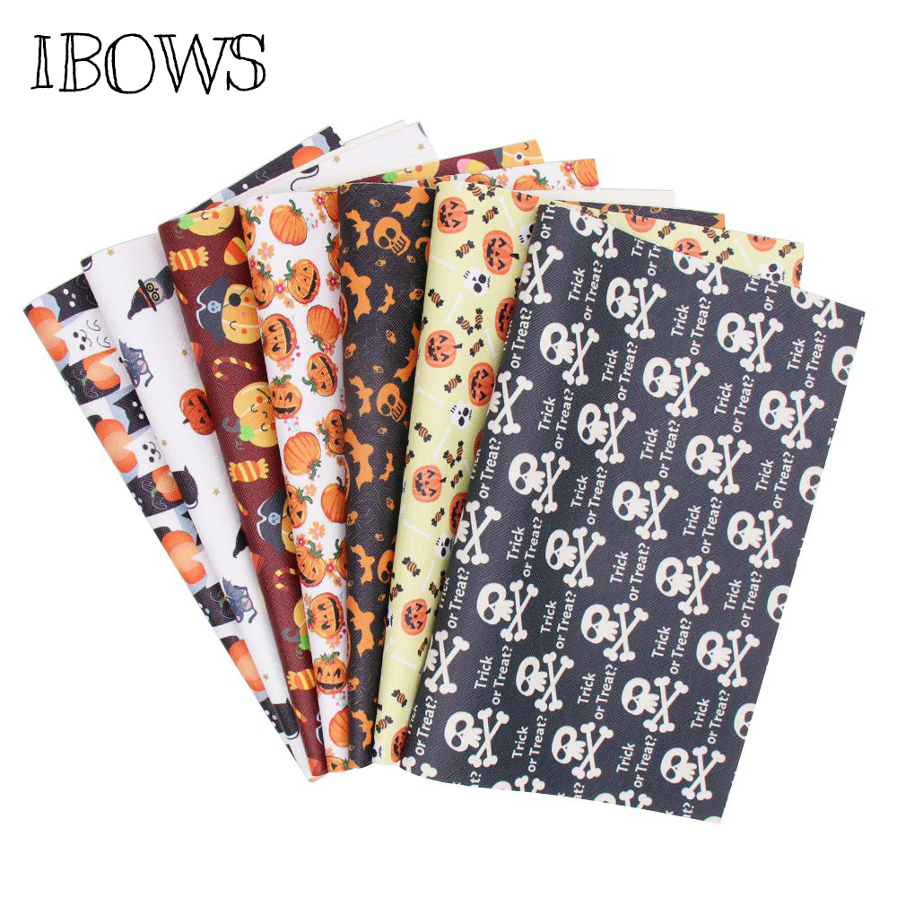 IBOWS 22*30cm Snythetic Leather Fabric Sheet Haloween Pumpkin Faux Leather Vinyl Fabric For DIY Hairbow Bags Crafts Bow Material