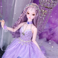 Purple Dress Long Hair Princess BJD Doll 60CM Dream Fairy Toy Baby Dolls Accessories 3D Eyes 26 Joints Moveable DIY Girls Gift