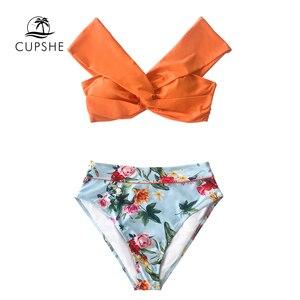 Image 5 - CUPSHE Bikini Floral de cintura alta, conjuntos de Bikini de cintura alta, bañador Sexy sin hombros, traje de baño de dos piezas para mujer, 2020, traje de baño para playa