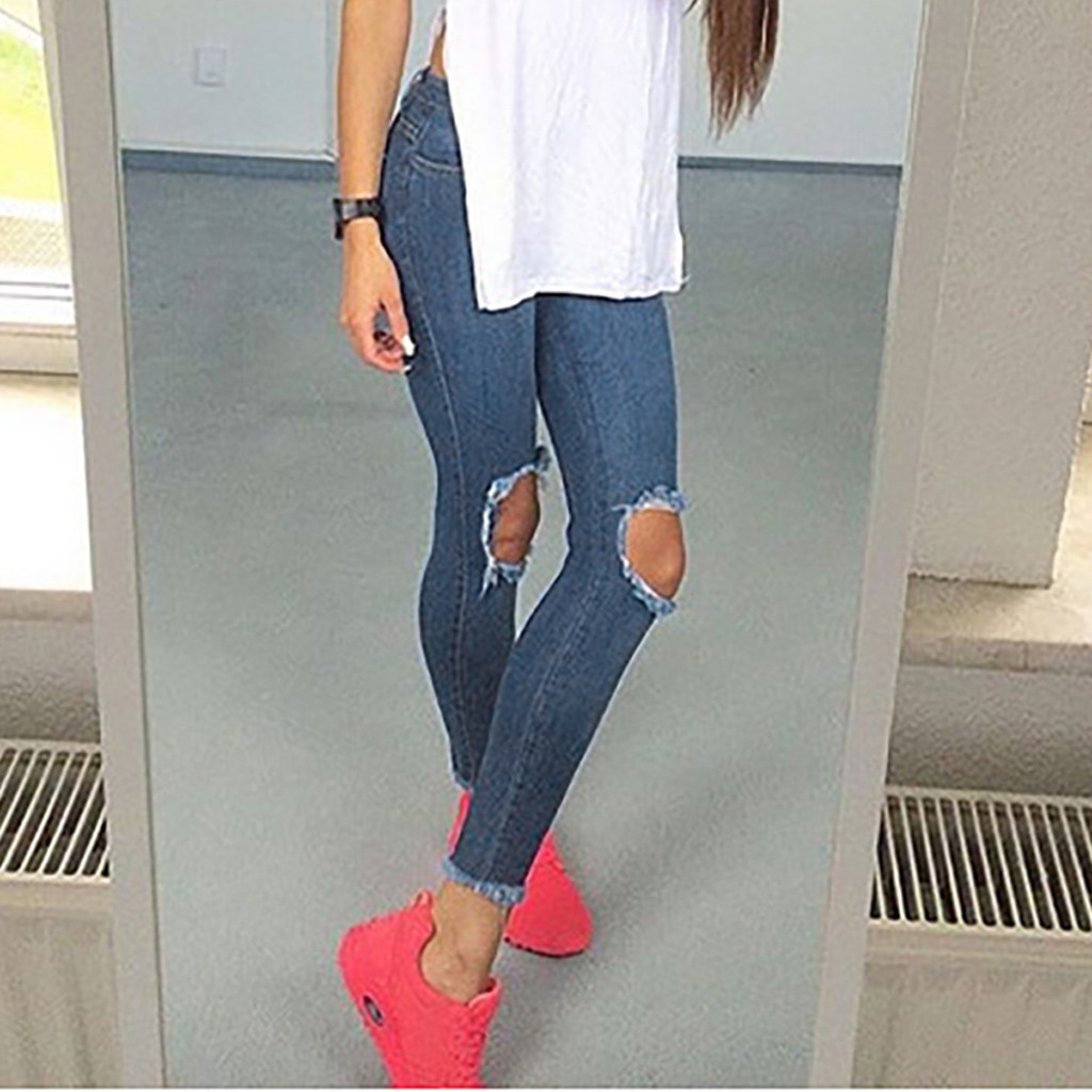 Skinny Jeans Woman High Waist Long Solid Button Fly Pocket Zipper Hole Fashion Casual Denim Pants Jeans Mujer Cintura Alta OY41*