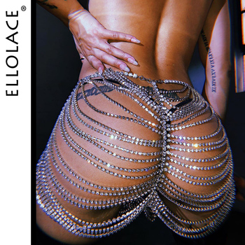 Ellolace Crystal Waist Belly Skirt Chain Women Diamante Underwear Tassel Festival Party Chic Chain Sexy Body Harness Jewelry