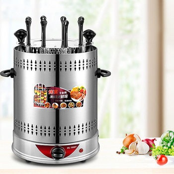Electric Grill Fully Automatic Spin Home Timed Dismountable Oil Collector Steel Fork Kebab Roast Chicken Wing Barbecue Machine kebab machine household electric grill automatic rotation of barbecue grill indoor smokeless barbecue machine small kebabs