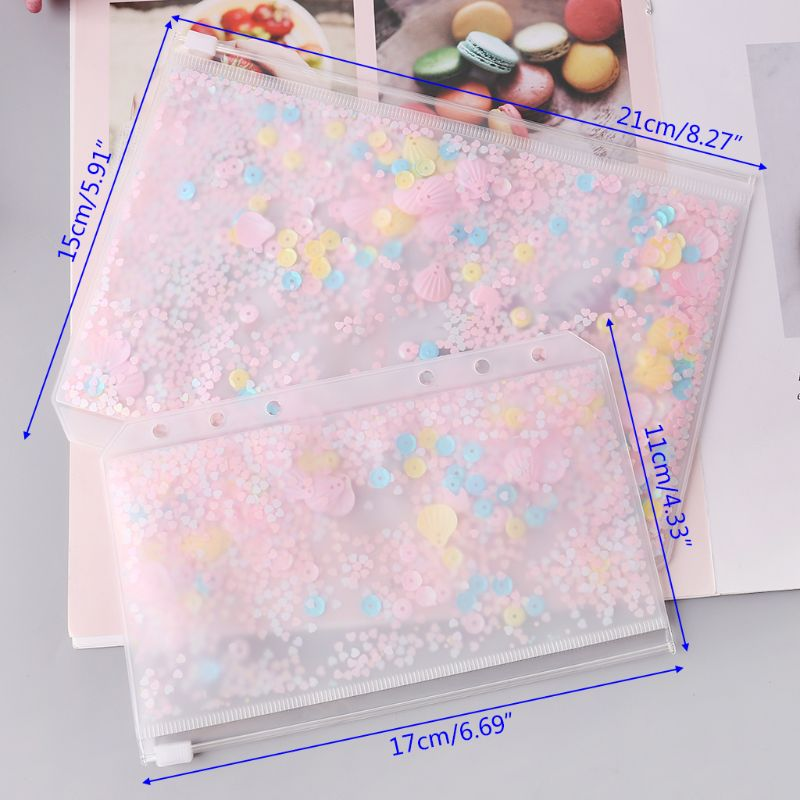 Pink Sequins Storage Zipper Bag Case A5 A6 Divider Planner Accessories Shake Card For Spiral Notebook School Supplies LX9A