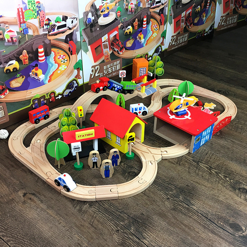 Montessori Train Toy Vehicles Kids Toys Model Cars Wooden Puzzle Building Slot Track Rail Transit Parking Carage  Magnetic Slot