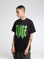 Letter Print Rapper Men Short Sleeve Neon T shirts Hip Hop Tees
