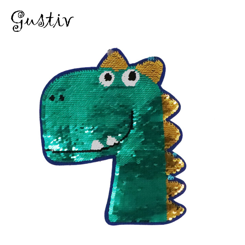 Cartoon Dinosaur Reverse Sequins Sew On <font><b>Patches</b></font> for Clothes <font><b>Coat</b></font> Sweater Embroidered Change Color Reversible <font><b>Patch</b></font> Appliques image