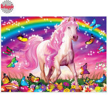 Diamond Embroidery white Horse Full Square Diamond Painting Cartoon Mosaic Butterfly rainbow Picture Of Rhinestone Children Gift(China)
