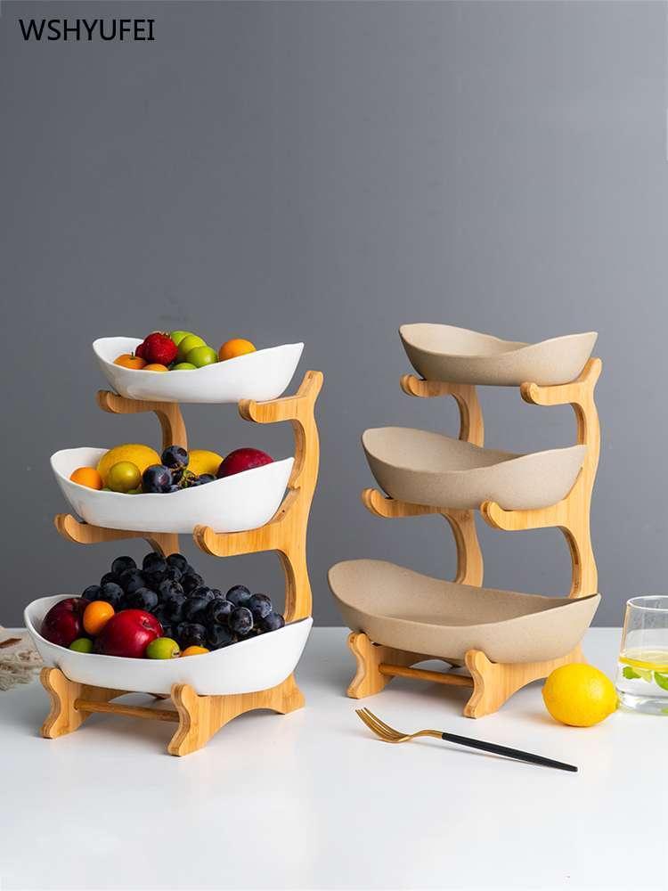 WSHYUFEI assiette de fruits en céramique | Plat à bonbons, salon maison assiette à fruits à trois couches, panier de fruits secs créatifs et modernes