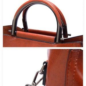 Image 4 - Vrouwen Vintage Lederen Handtassen Voor Vrouw Schoudertas Ontwerper Messenger Crossbody Tassen 2019 Dames Luxe Handtas