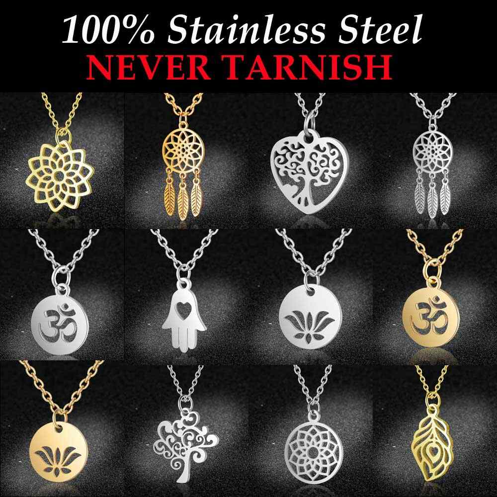100% Stainless Steel Yoga OM Lotus Charm Necklaces For Women Wholesale Tree of LIfe Dream Catcher Dainty Jewelry Dropshipping