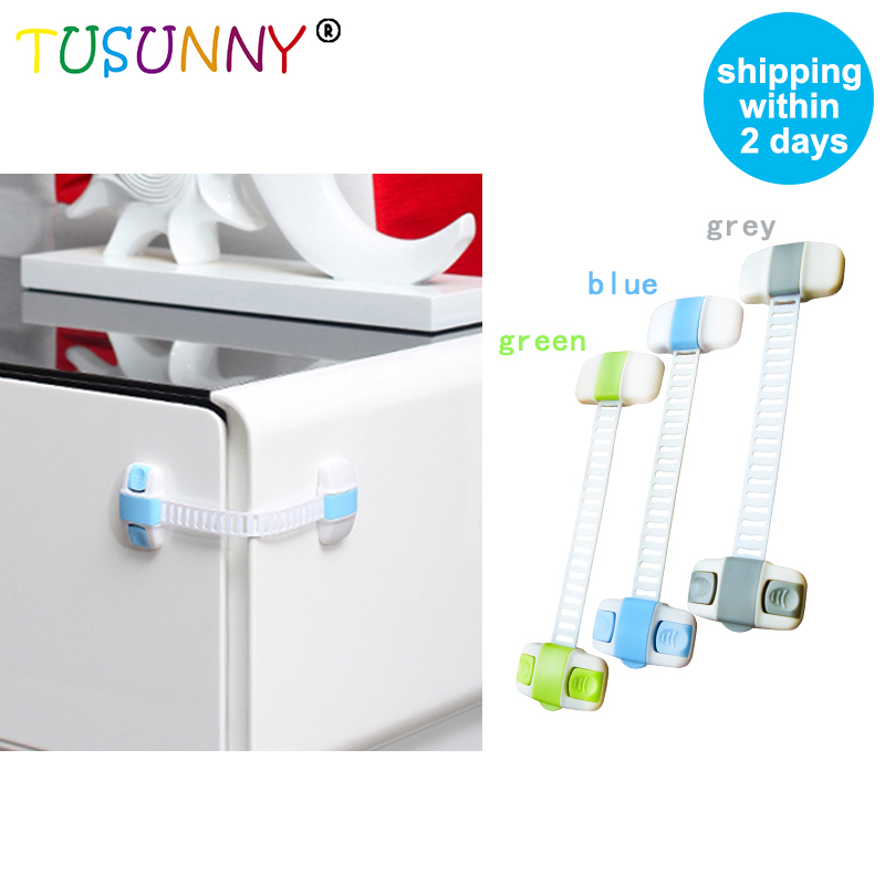 TUSUNNY Cabinet Door Drawers Refrigerator Toilet  Lock Lengthened Adjustable Lock Safety Plastic Locks For Child Kid Baby Safety