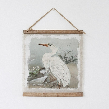 Large Retro Egrets Linen Cloth Painting Scrolls Poster Mural Paintings Banners Hanging Office Loft Ornament