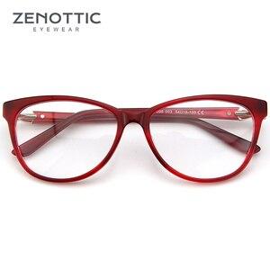 Image 4 - ZENOTTIC Retro Acetat Cat Eye Brille Rahmen Frauen Luxus Optische Myopie Spektakel Rahmen Klare linse Brillen