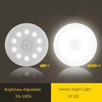 Lámpara LED nocturna con Sensor de movimiento PIR, recargable vía USB, regulable, para dormitorio, cocina, armario, luz inalámbrica