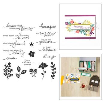 ¡Novedad de 2020! Set de sellos con las palabras de flores con estampado de flores y hojas transparentes, troqueles de corte de Metal para artesanías, para hacer tarjetas
