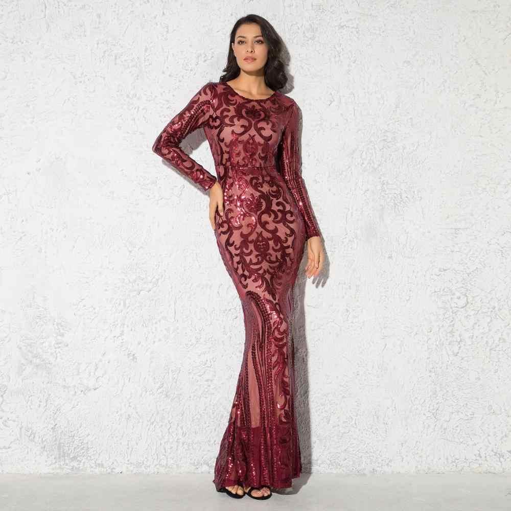 Elegante O Neck Burgund Pailletten Lange Abend Party Kleid Voll Sleeved  Stretch Bodenlangen Herbst Winter Maxi Kleid