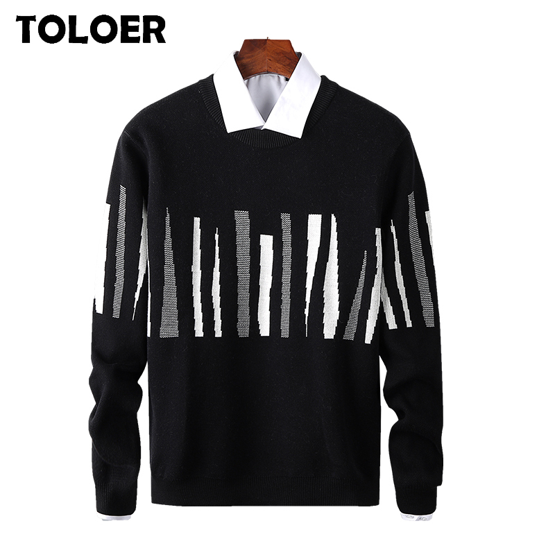 Sweater Men Casual Striped O-Neck Pullover Men''s Clothes 2020 Autumn New Arrivals Knitwear Pull Homme Plus Size Black Sweaters