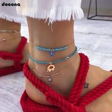 цены Docona Bohemia Elephant Eye Triangle Pendant Beaded Bracelet Anklet for Women Beach Charm Chain Party Foot Jewelry 8142