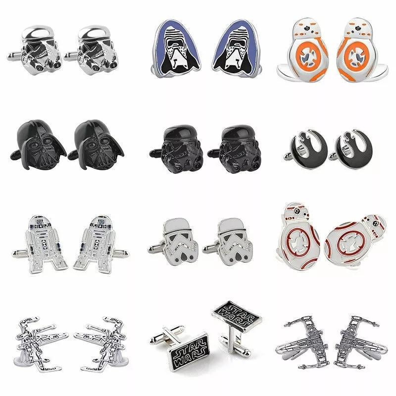 Cufflinks Fighter Superhero-Tie-Clips BB8 Storm Trooper R2D2 Star-Wars Jewelry Darth