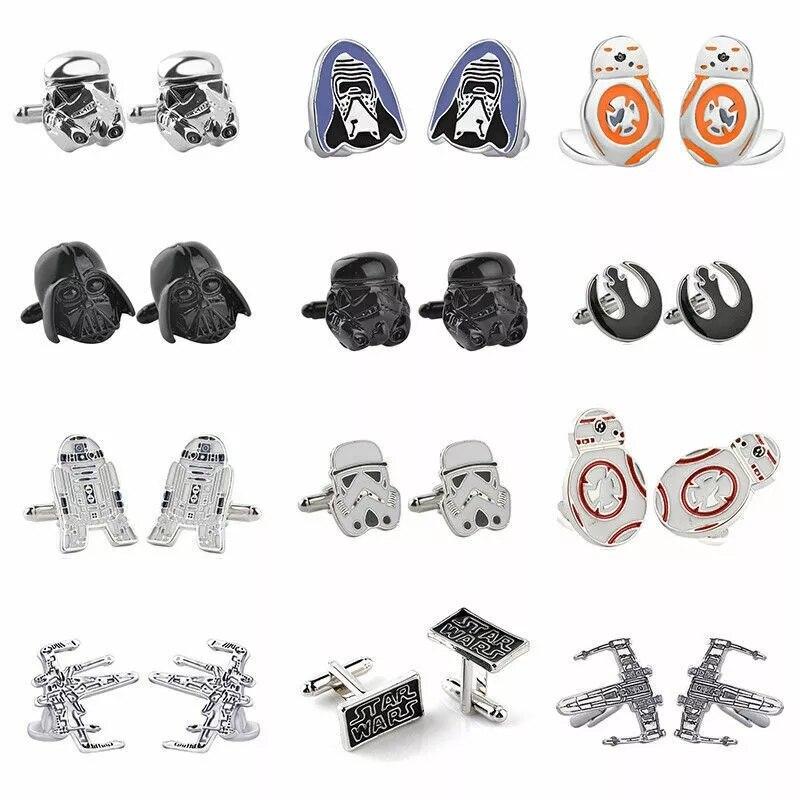 Star Wars CuffLinks Falcon Darth Vader BB8 R2D2 Fighter Knight Storm Trooper Superhero Tie Clips Cufflinks Fans Jewelry Gift