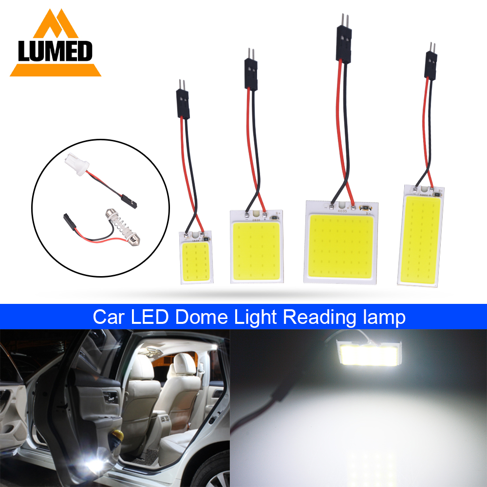 Car LED T10 Festoon COB W5W C5W T4W LED Vehicle Panel Lamps Auto Interior Reading Lamp Dome Light DC 12V