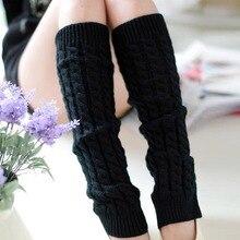 Вязаные шерстяные женские гетры теплые до колена зимние вязать крючком для ног теплые носки модные гетры носки