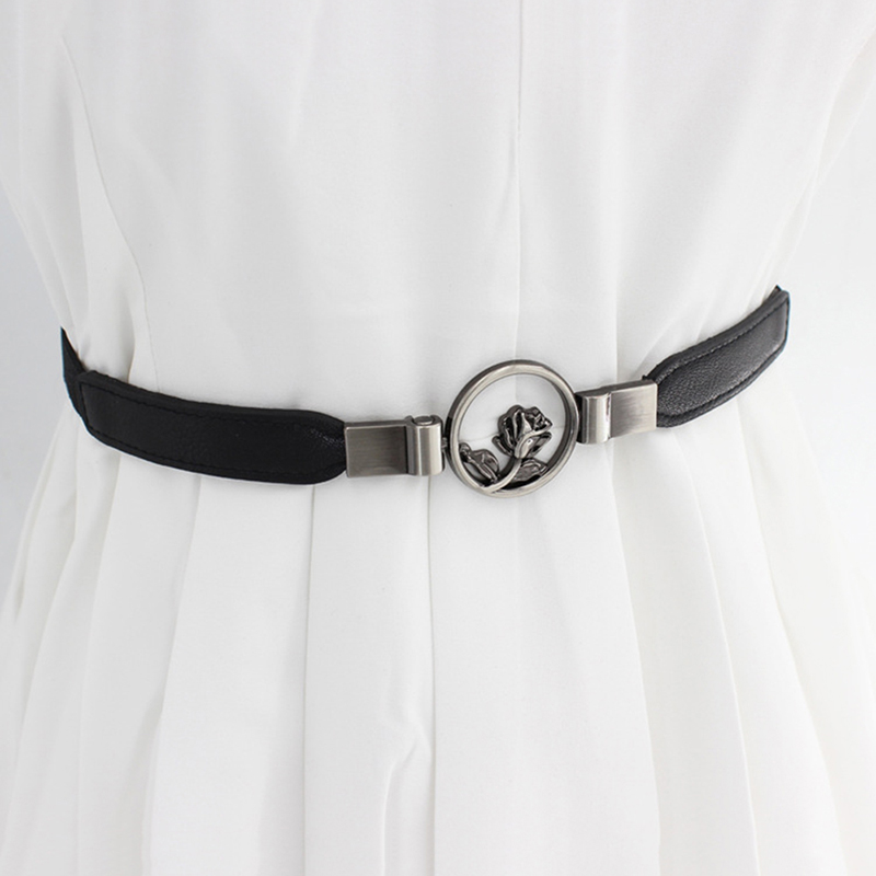 Belt Accessories With Dress Girdle Flower Hooks Buckle Fine Elastic Stretch Fashion Slim Belt Korean Style