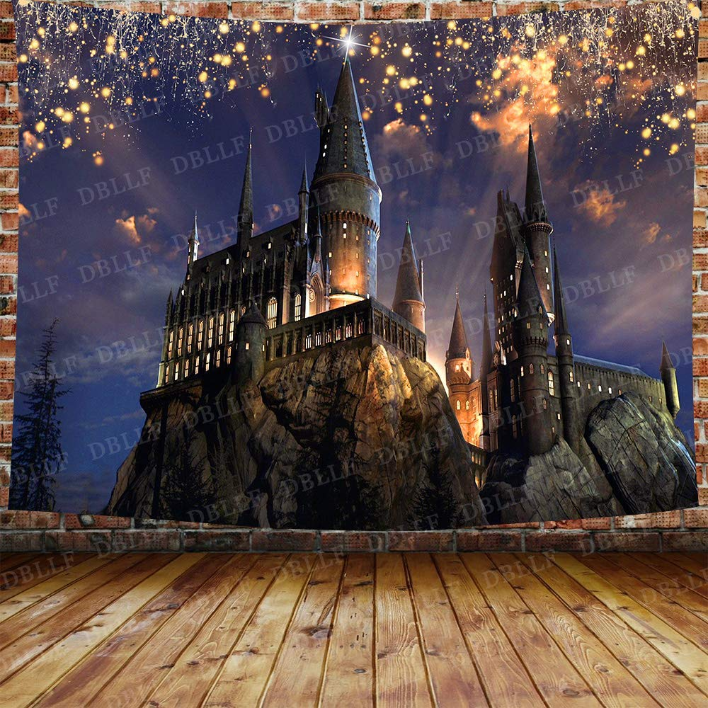 Magic Castle Tapestry Witch Wizard Hogwarts Backdrop Photography Halloween Night Moon Background Sorcerer Party Banner Decors