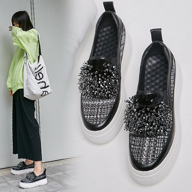 أحذية امرأة أحذية رياضية النساء 2019 منصة الأزياء مصمم الجلود حذاء خفيف النساء 6 سنتيمتر-في أحذية مطاطية نسائية من أحذية على  مجموعة 3