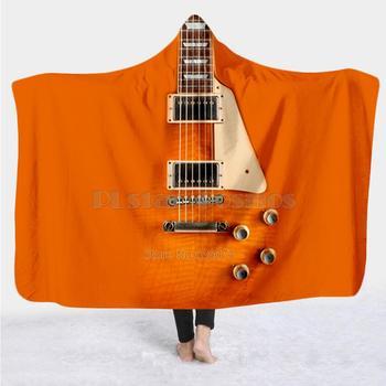 Violín guitarra arte instrumento Musical Manta con capucha 3D impresión completa cobija vestible adultos hombres mujeres manta estilo-12