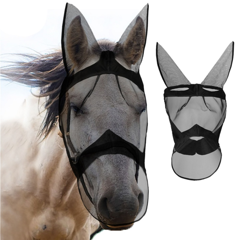 Anti-mosquito Horse Mask Breathable Comfort  Horse Flying Mask Equestrian Supplies Horse Mask Removable Mesh Protectors
