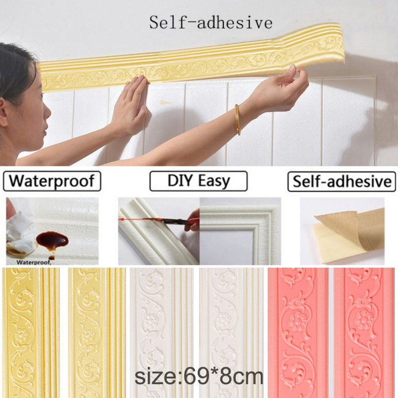 3d Wall Stickers Waterproof Rustic Tile Baseboard Self Adhesive Vintage Wallpaper Borders Practical Tv Background Sticker Wall Stickers Aliexpress
