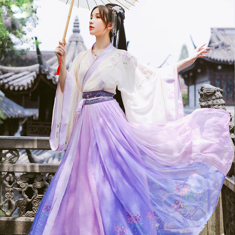 Traditional Chinese Clothes For Women Hanfu Dress Elegant Fairy Folk Ancient Costume Cherry Embroidery Oriental Tang Suit DL4976