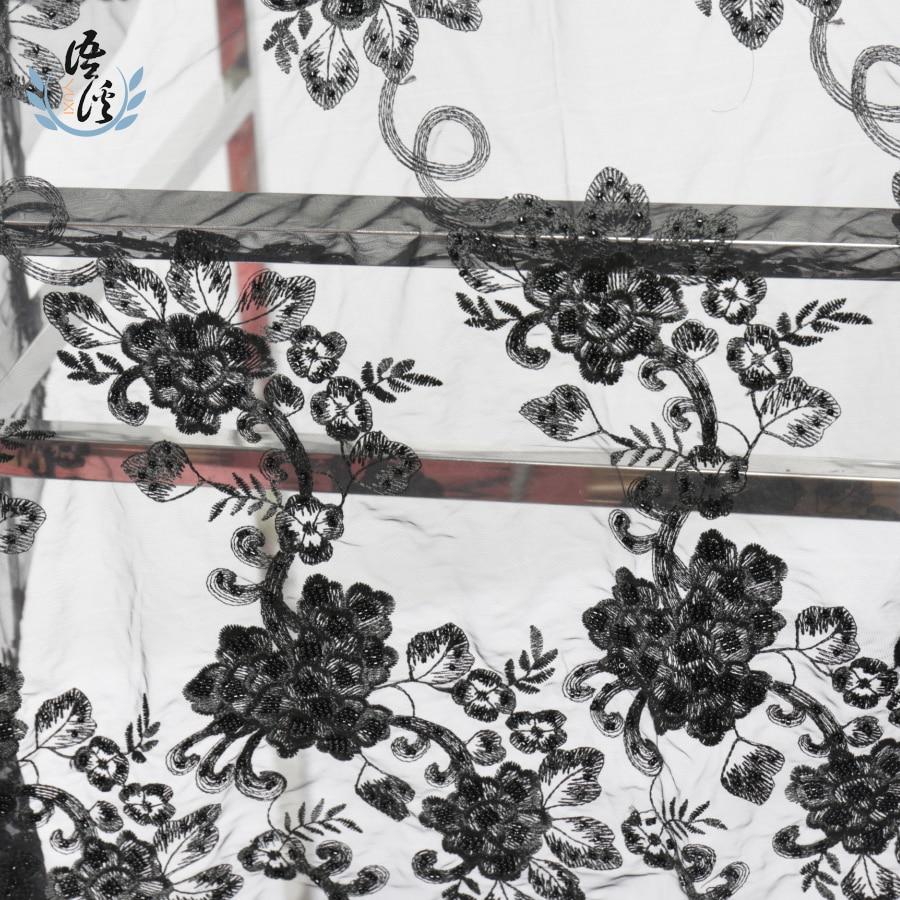 5 Yards Mesh Embroidery Bead Fabric Fabric Embroidery Spot Dress Dress Dress Embroidery Fabric