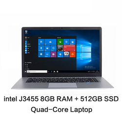 15.6 بوصة طالب محمول إنتل J3455 رباعية النواة 8GB RAM 128GB 256GB 512GB SSD ROM الكمبيوتر المحمول ويندوز 10 كمبيوتر محمول Ultrabook