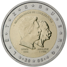 Luxembourg 2005 Duke Henry and Adolf 2 Euro Real Original Coins True Euro Collection Commemorative Coin Unc