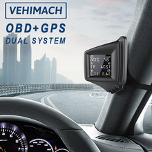 Car HUD Head Up Display OBD2 GPS Dual System Auto Head-up Digital GPS Speedometer Odometer Overspeed Alarm A-pillar Dashboard