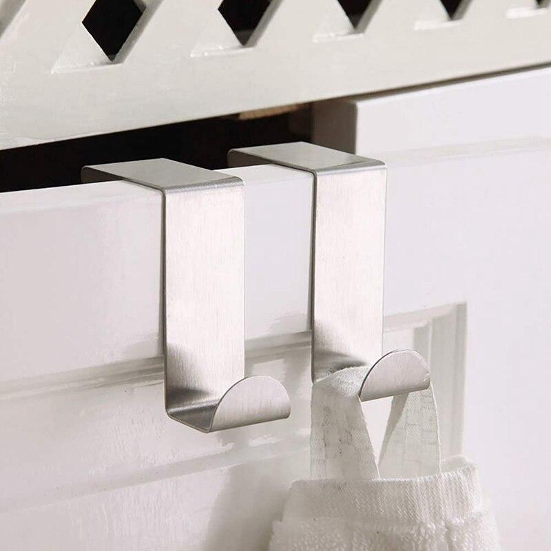 IALJ Top Set Of 4 Over The Door Reversible Z Hooks, Over The Door Hanger Stainless Steel Organizer For Coat, Towel, Bag, Robe Ki