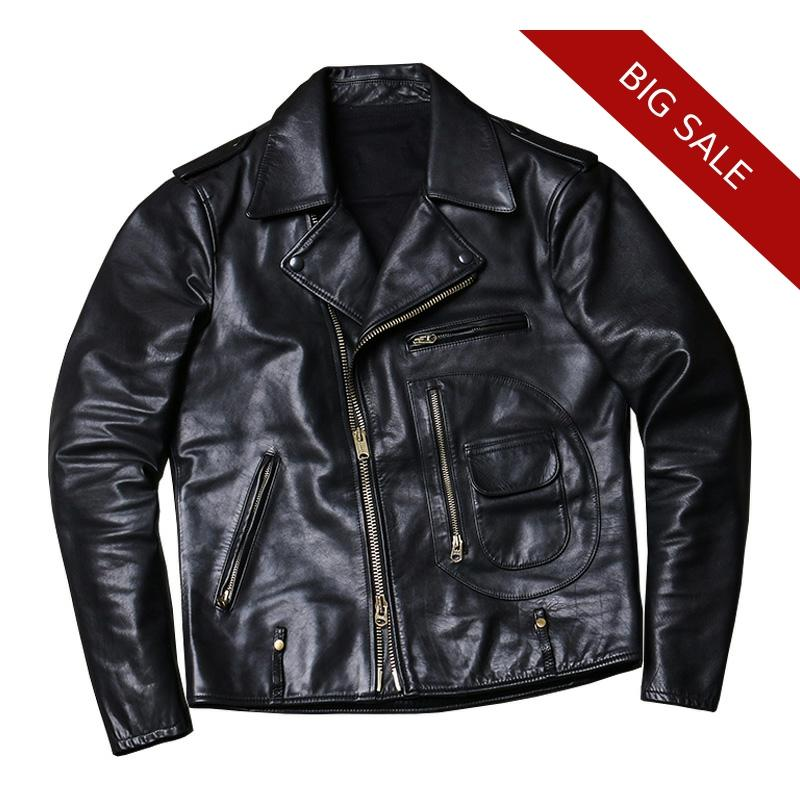 2020 Black Men American Style Slim Fit J24 Biker's Leather Jacket Genuine Cowhide Autumn Short Motorcycle Leather Coat