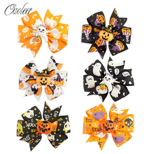 6 Pcs/Lot Halloween Hair Clips for Girls Print Ribbon Hairgrips with Resin Pumpkin Bowknot  Bows Accessories