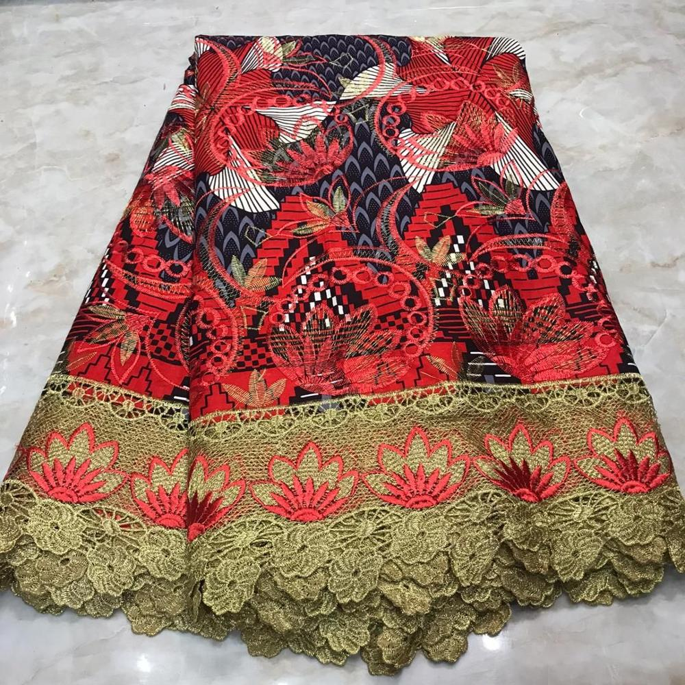 High Quality African Material Ankara Lace Wax Cotton 6 Yards Ghana Netherlands Print Wax With Lace Embroidery For Sewing Dress
