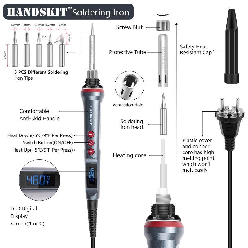 HANDSKIT 90W Lötkolben Satz LED Digital Elektrischer Temperatur Einstellbar A7V2