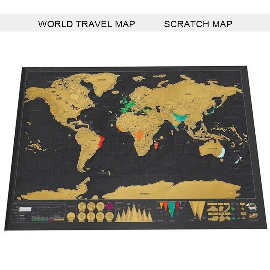 Black World Travel Map Deluxe Erase Scratch Off World Map Travel Scratch For Map Gifts Room Home Office Decoration Wall Stickers