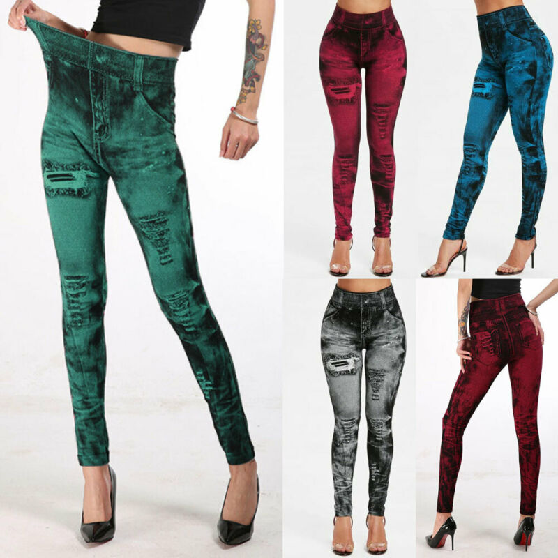 Women`s Stretchy High Waist Jeans Pants Casual Ladies Slim Fit Trousers Leggings Denim Jeggings