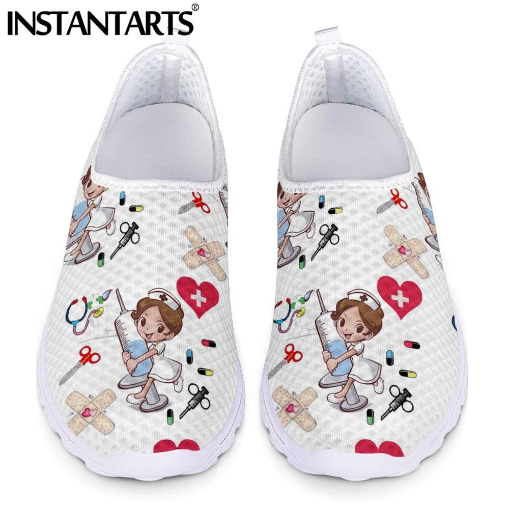 INSTANTARTS Nurse Shoes Summer Flats Women Shoes Mesh Sneakers Shoe Woman Cartoon Doctor Hospital Skech Print zapatos de mujer image