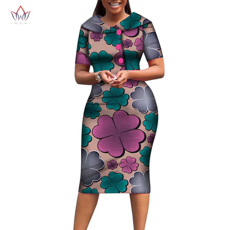 African Print Dresses For Women Cotton Mid-dress Dashiki Women Traditional Clothing Knee-length African Wear For Ladies WY6482