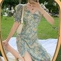 Цветочные Маленькие платья с ромашками для женщин 2021 летние футболки «French нежная гамма цветов; Открытое платье без рукавов Женская тонкая т...